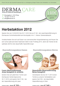 E-Mail-Marketing Newsletter Dermacare Schönheitsinstitut