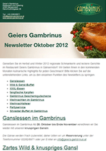 E-Mail-Marketing Newsletter Geiers Gambrinus Gänserndorf
