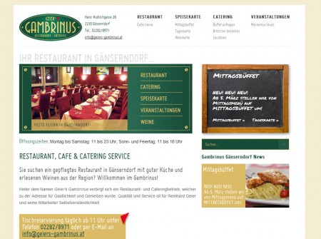 Wordpress Webdesign Restaurant Geiers Gambrinus Gänserndorf