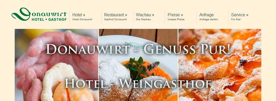 Donauwirt.at Restaurant- und Hotel-Website WordPress Webdesign Referenz