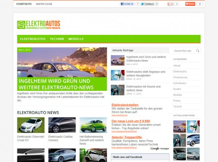 Elektroautos.co.at Onlinemagazin WordPress Webdesign Referenz