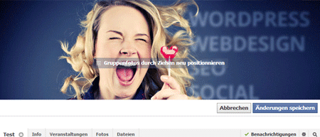 Facebook Titelbild für Gruppen ändern - Guppenfoto positionieren