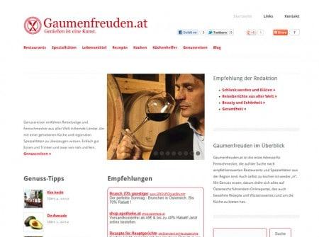 Gaumenfreuden.at Kulinarikmagazin WordPress Webdesign Referenz