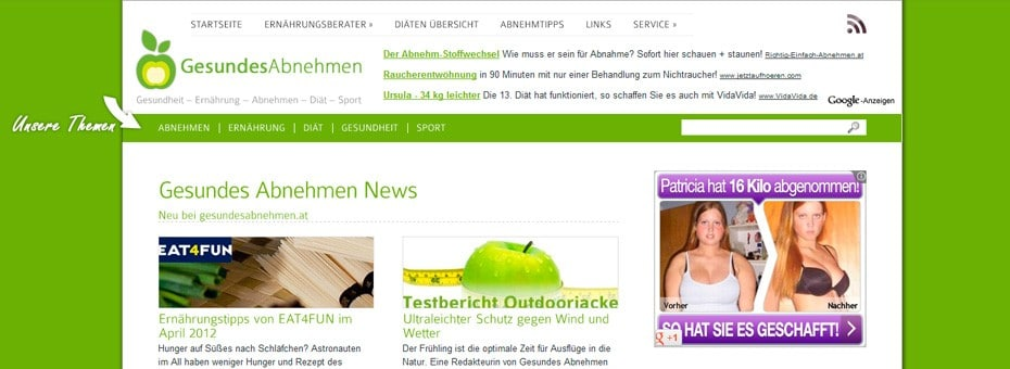 Gesundeabnehmen.at Onlinemagazin WordPress Webdesign Referenz