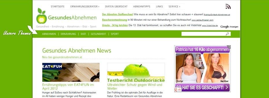 Gesundeabnehmen.at Onlinemagazin WordPress Webdesign Referenz
