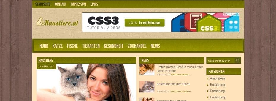 Haustiere.at WordPress-Blog Webdesign Referenz