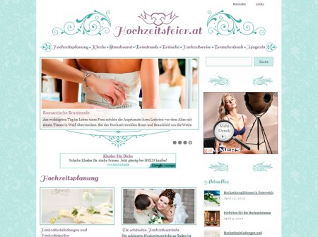 Hochzeitsfeier.at Onlinemagazin WordPress Webdesign Referenz