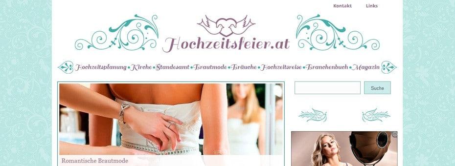 Hochzeitsfeier.at Onlinemagazin WordPress Webdesign Referenz