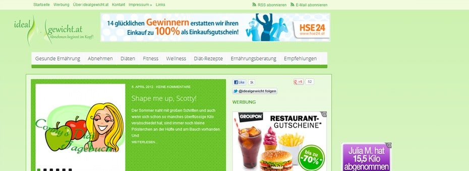 Idealgewicht.at Onlinemagazin WordPress Webdesign Referenz