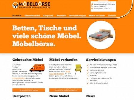 Moebel-boerse.at Möbelgeschäft Wien WordPress Webdesign Referenz