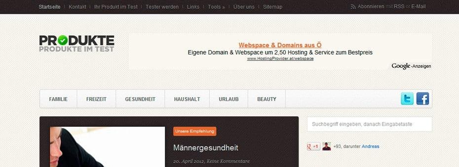 Produkteimtest.de WordPress Onlinemagazin Referenz