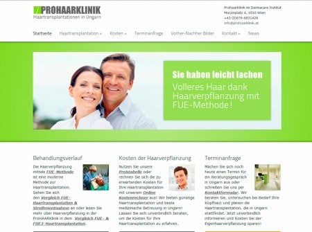 Prohaarklinik.at Klinik-Website WordPress Webdesign Referenz