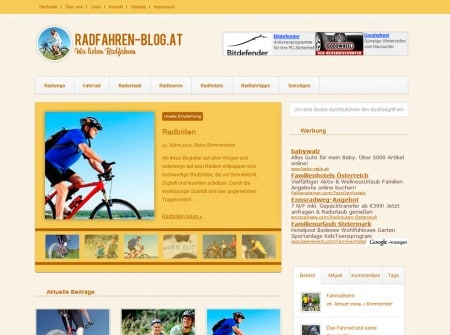 Radfahren-blog WordPress-Blog Webdesign Referenz