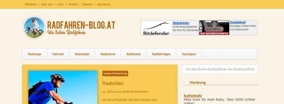 Radfahren-blog WordPress-Blog Webdesign Referenz