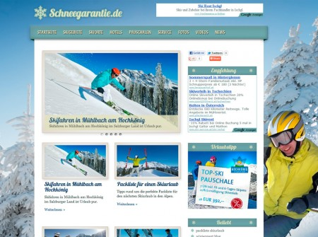 Schneegarantie.de Tourismus-Website WordPress Webdesign Referenz