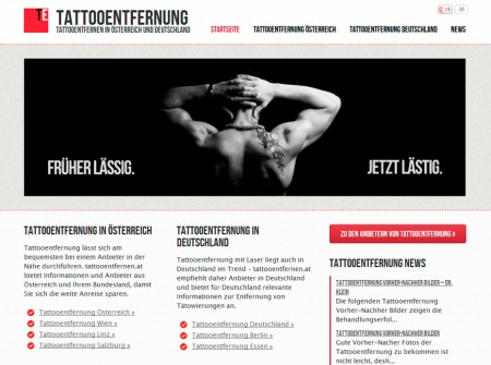 Tattooentfernen.at WordPress Webdesign Referenz