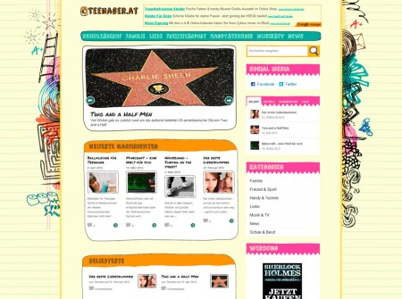 Teenager.at Onlinemagazin WordPress Webdesign Referenz
