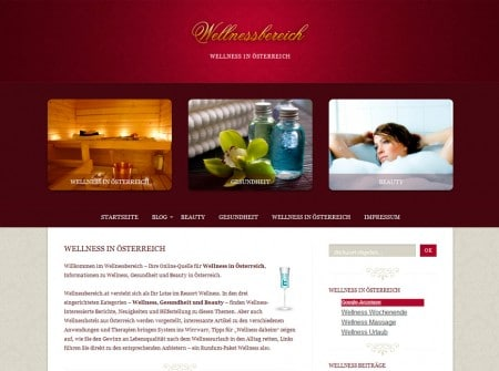 Wellnessbereich.at WorPress Webdesign Referenz