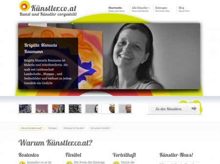 Kuenstler.co.at WordPress Webdesign Referenz