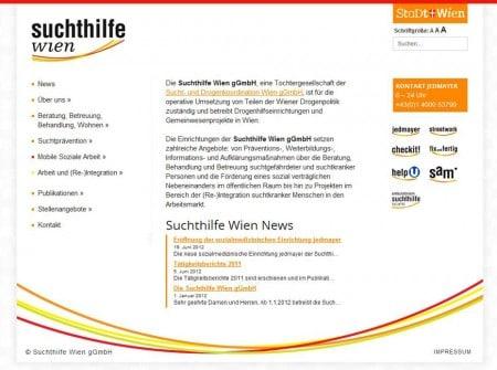 Suchthilfe.at Webseite - Webdesign Referenz