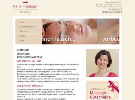 Massage-fichtinger.at - WordPress Webdesign Referenz
