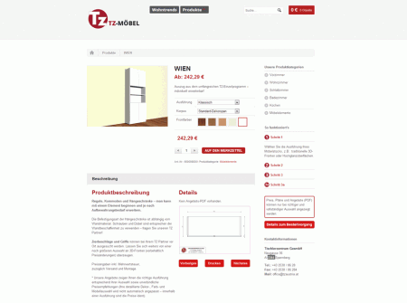 WordPress Webdesign Referenz Onlineshop Tzmoebel.at