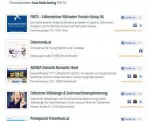Social Media Ranking auf firmenwebseiten.at