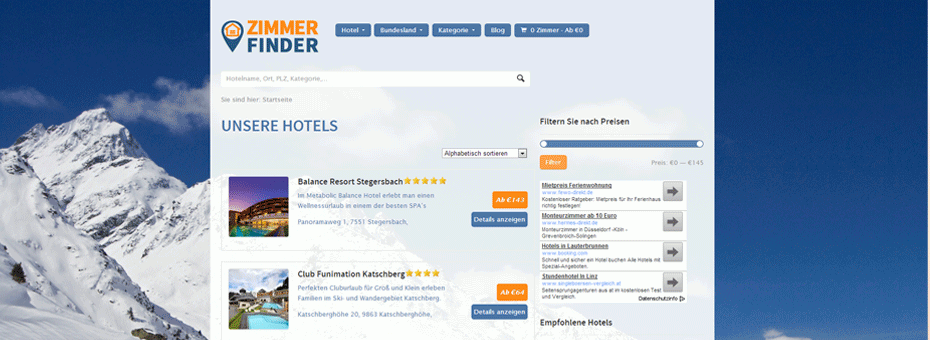 WordPress Webdesign Referenz Tourismus-Website zimmerfinder.at