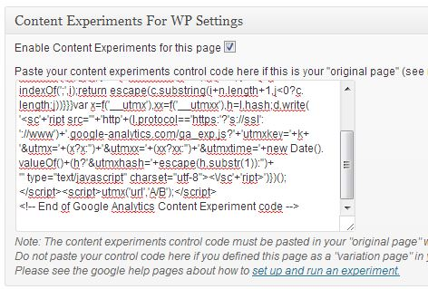 Content Experiments For WP Settings