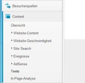 Content Tests im Menü von Google Analytics