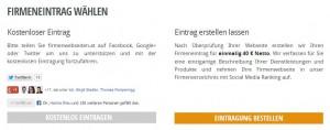 Firmeneintrag mit Social Media Buttons