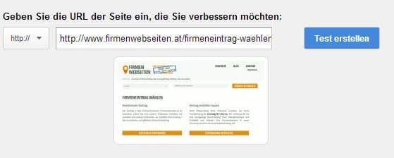Geben Sie die URL der Seite ein, die Sie verbessern möchten