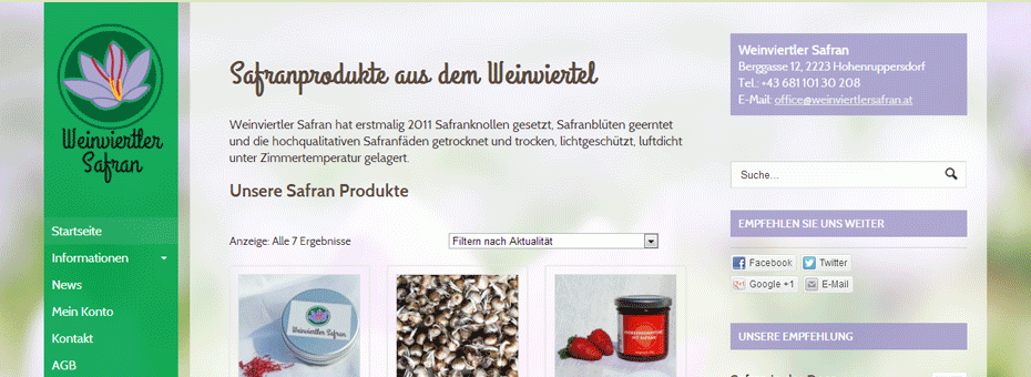WordPress Onlineshop Webdesign Referenz Weinviertlersafran.at