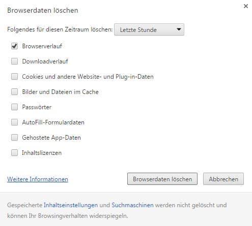 Chrome Browserverlauf löschen